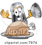 Clipart Picture Of A Pepper Shaker Mascot Cartoon Character Serving A Thanksgiving Turkey On A Platter