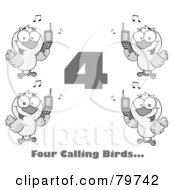 Royalty Free RF Clipart Illustration Of A Black And White Number Four With Text And Calling Birds Holding A Cell Phones