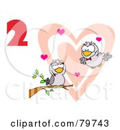 Red Number Two Over Two Turtle Doves By A Branch In Front Of A Big Heart