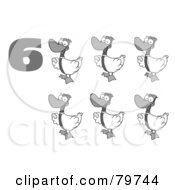 Royalty Free RF Clipart Illustration Of A Black And White Number Six By Geese Laying Eggs