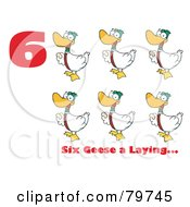 Royalty Free RF Clipart Illustration Of A Red Number Six With Text By Geese Laying Eggs