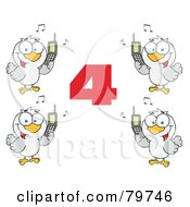 Royalty Free RF Clipart Illustration Of A Red Number Four With Calling Birds Holding A Cell Phones