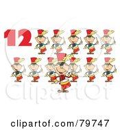 Red Number Twelve By Twelve Drummers Drumming