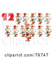 Red Number Twelve By Twelve Drummers Drumming by Hit Toon