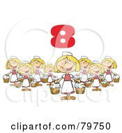 Red Number Eight Over Eight Maids A Milking