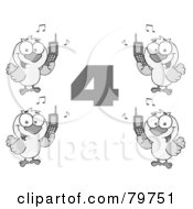 Royalty Free RF Clipart Illustration Of A Black And White Number Four With Calling Birds Holding A Cell Phones
