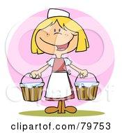 Friendly Blond Maid Carrying Milk Buckets