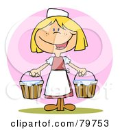 Royalty Free RF Clipart Illustration Of A Friendly Blond Maid Carrying Milk Buckets