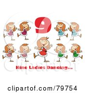 Red Number Nine And Text Over Nine Ladies Dancing by Hit Toon