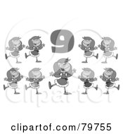 Royalty Free RF Clipart Illustration Of A Black And White Number Nine Over Nine Ladies Dancing