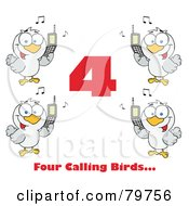 Royalty Free RF Clipart Illustration Of A Red Number Four With Text And Calling Birds Holding A Cell Phones