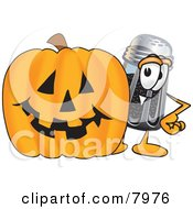 Clipart Picture Of A Pepper Shaker Mascot Cartoon Character With A Carved Halloween Pumpkin