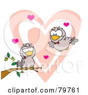 Royalty Free RF Clipart Illustration Of Two Turtle Doves By A Branch In Front Of A Big Heart