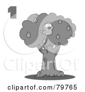 Royalty Free RF Clipart Illustration Of A Black And White Number One By A Partridge In A Pear Tree