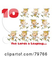 Red Number Ten And Text By Lords A Leaping by Hit Toon