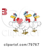 Red Number Three Over Three French Hen Chickens by Hit Toon