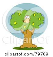Royalty Free RF Clipart Illustration Of A Yellow Partridge In A Pear Tree by Hit Toon