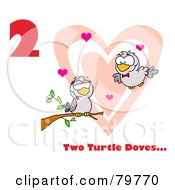 Red Number Two And Text By Two Turtle Doves By A Branch In Front Of A Big Heart by Hit Toon