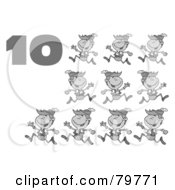 Royalty Free RF Clipart Illustration Of A Black And White Number Ten By Lords A Leaping by Hit Toon