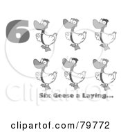 Royalty Free RF Clipart Illustration Of A Black And White Number Six With Text By Geese Laying Eggs
