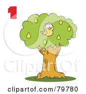 Royalty Free RF Clipart Illustration Of A Red Number One By A Partridge In A Pear Tree