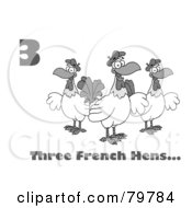Royalty Free RF Clipart Illustration Of A Black And White Number Three And Text By Three French Hen Chickens by Hit Toon