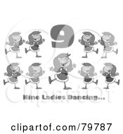 Royalty Free RF Clipart Illustration Of A Black And White Number Nine And Text Over Nine Ladies Dancing