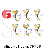 Royalty Free RF Clipart Illustration Of A Red Number Six By Geese Laying Eggs by Hit Toon