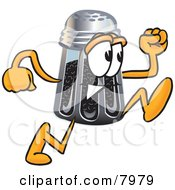 Clipart Picture Of A Pepper Shaker Mascot Cartoon Character Running by Toons4Biz