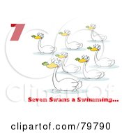Royalty Free RF Clipart Illustration Of A Red Number Seven And Text By Swimming Swans