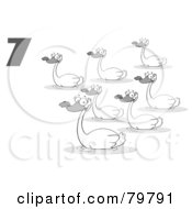 Royalty Free RF Clipart Illustration Of A Black And White Number Seven By Swimming Swans