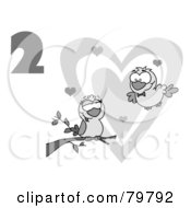 Royalty Free RF Clipart Illustration Of A Black And White Number Two Over Two Turtle Doves By A Branch In Front Of A Big Heart