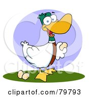 Royalty Free RF Clipart Illustration Of A Goose Laying Eggs