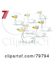 Royalty Free RF Clipart Illustration Of A Red Number Seven By Swimming Swans