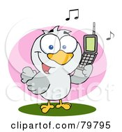 Royalty Free RF Clipart Illustration Of A Calling Bird Holding A Cell Phone