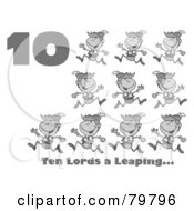 Royalty Free RF Clipart Illustration Of A Black And White Number Ten And Text By Lords A Leaping by Hit Toon