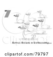 Royalty Free RF Clipart Illustration Of A Black And White Number Seven And Text By Swimming Swans