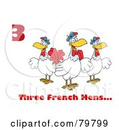 Red Number Three And Text By Three French Hen Chickens by Hit Toon