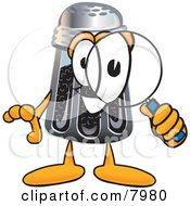 Pepper Shaker Mascot Cartoon Character Looking Through A Magnifying Glass