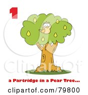 Royalty Free RF Clipart Illustration Of A Red Number And A Partridge In A Pear Tree Text Under A Partridge In A Pear Tree
