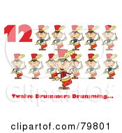 Red Number Twelve And Text By Twelve Drummers Drumming by Hit Toon