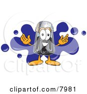 Clipart Picture Of A Pepper Shaker Mascot Cartoon Character With A Blue Paint Splatter by Toons4Biz