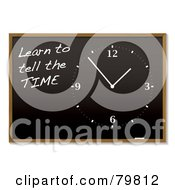 Royalty Free RF Clipart Illustration Of A Clock And Learn To Tell The Time On A Blackboard by michaeltravers