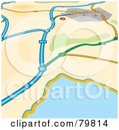 Royalty Free RF Clipart Illustration Of A GPS Map Of Roads Near A Body Of Water