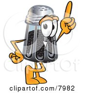 Clipart Picture Of A Pepper Shaker Mascot Cartoon Character Pointing Upwards by Toons4Biz