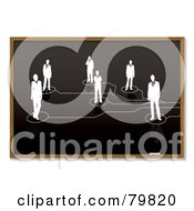 Royalty Free RF Clipart Illustration Of A Sketch Of Networked People On A Blackboard by michaeltravers