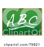 Royalty Free RF Clipart Illustration Of ABC Drawn On A Green Chalkboard