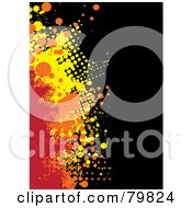 Royalty Free RF Clipart Illustration Of A Grungy Background Of Red Orange And Yellow Halftone Splatters On Black by michaeltravers