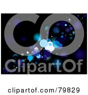 Royalty Free RF Clipart Illustration Of A Background Of Blue Glittery Lights On Black