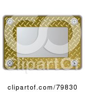 Royalty Free RF Clipart Illustration Of A Silver Metal Plate With Gold Textured Metal by michaeltravers